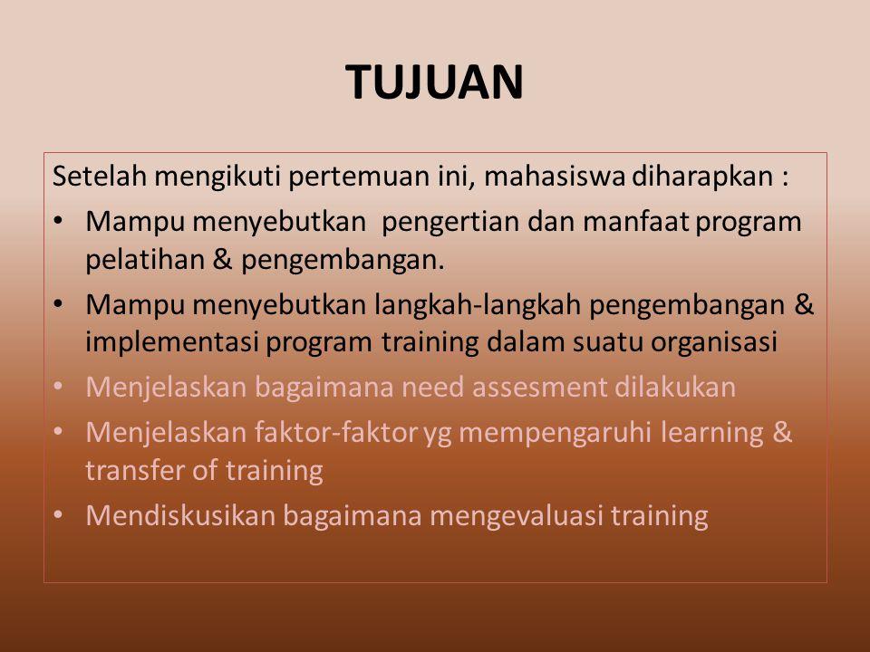 Setelah mengikuti pertemuan ini, mahasiswa diharapkan : Mampu menyebutkan pengertian dan manfaat program pelatihan & pengembangan.