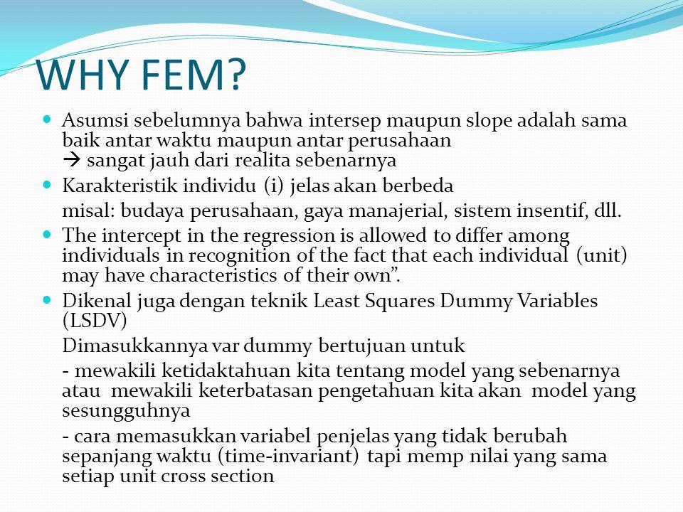 WHY FEM? Asumsi sebelumnya bahwa intersep maupun slope adalah sama baik antar waktu maupun antar perusahaan  sangat jauh dari realita sebenarnya Kara