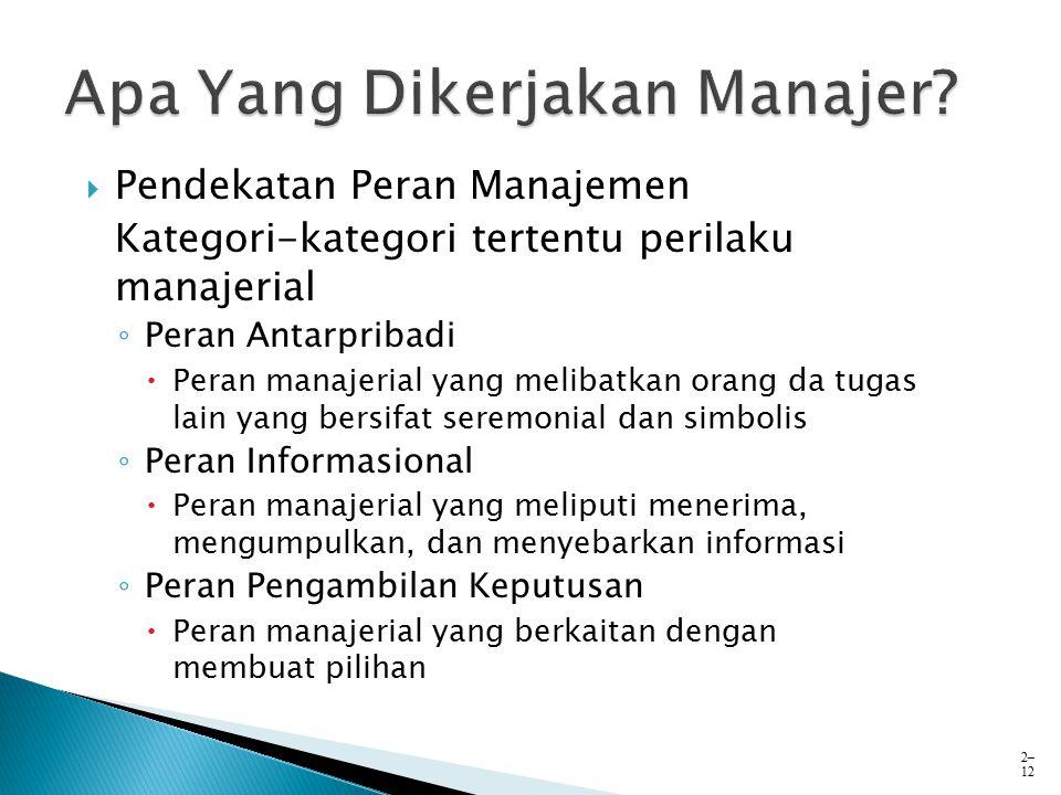  Pendekatan Peran Manajemen Kategori-kategori tertentu perilaku manajerial ◦ Peran Antarpribadi  Peran manajerial yang melibatkan orang da tugas lai