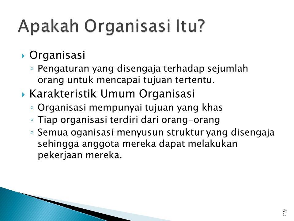  Organisasi ◦ Pengaturan yang disengaja terhadap sejumlah orang untuk mencapai tujuan tertentu.  Karakteristik Umum Organisasi ◦ Organisasi mempunya