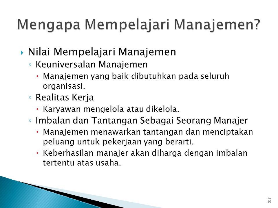  Nilai Mempelajari Manajemen ◦ Keuniversalan Manajemen  Manajemen yang baik dibutuhkan pada seluruh organisasi. ◦ Realitas Kerja  Karyawan mengelol