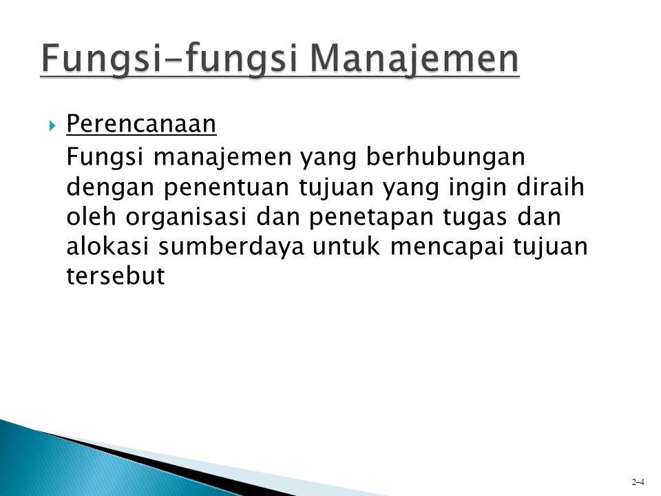  Pengorganisasian Fungsi manajemen yang berkaitan dengan penetapan dan pengelompokkan tugas ke dalam departemen dan pengalokasian sumberdaya ke berbagai departemen 2–5