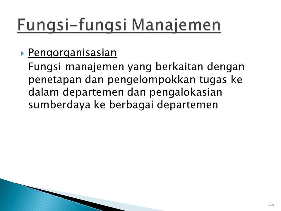  Pengorganisasian Fungsi manajemen yang berkaitan dengan penetapan dan pengelompokkan tugas ke dalam departemen dan pengalokasian sumberdaya ke berba