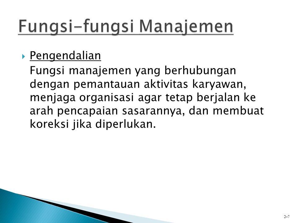 PPengendalian Fungsi manajemen yang berhubungan dengan pemantauan aktivitas karyawan, menjaga organisasi agar tetap berjalan ke arah pencapaian sasa