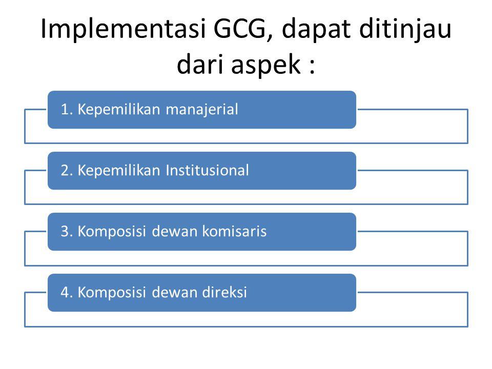 Implementasi GCG, dapat ditinjau dari aspek : 1. Kepemilikan manajerial2. Kepemilikan Institusional3. Komposisi dewan komisaris4. Komposisi dewan dire