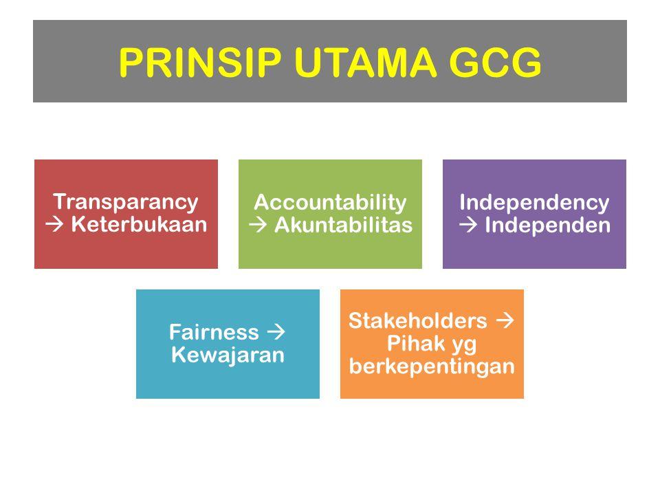 Transparancy  Keterbukaan Accountability  Akuntabilitas Independency  Independen Fairness  Kewajaran Stakeholders  Pihak yg berkepentingan PRINSI