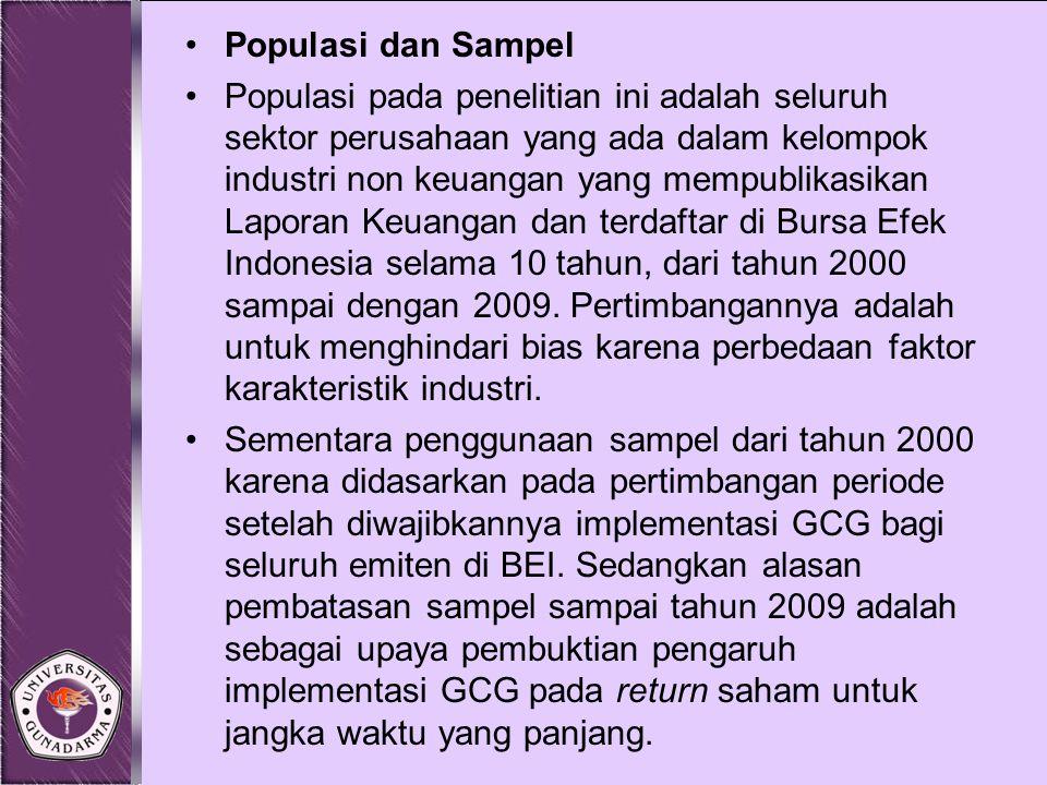 Populasi dan Sampel Populasi pada penelitian ini adalah seluruh sektor perusahaan yang ada dalam kelompok industri non keuangan yang mempublikasikan L