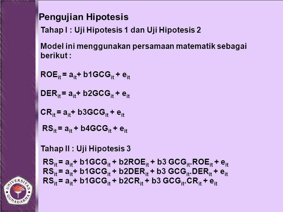 Pengujian Hipotesis Tahap I : Uji Hipotesis 1 dan Uji Hipotesis 2 Model ini menggunakan persamaan matematik sebagai berikut : ROE it = a it + b1GCG it