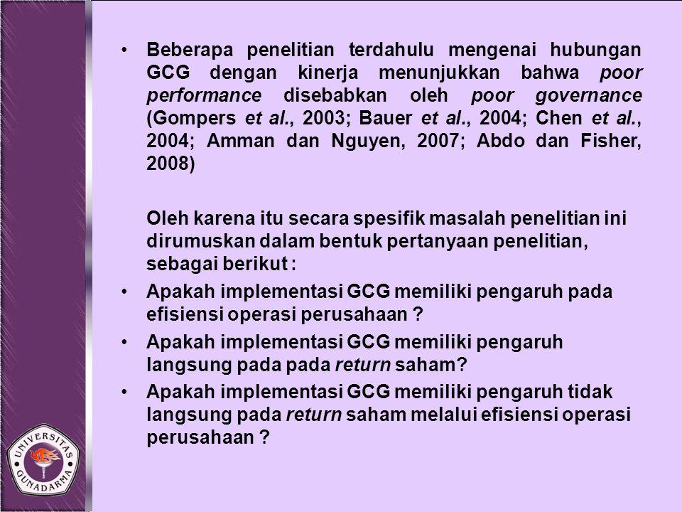 Beberapa penelitian terdahulu mengenai hubungan GCG dengan kinerja menunjukkan bahwa poor performance disebabkan oleh poor governance (Gompers et al.,