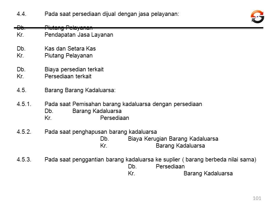 4.4.Pada saat persediaan dijual dengan jasa pelayanan: Db. Piutang Pelayanan Kr.Pendapatan Jasa Layanan Db. Kas dan Setara Kas Kr.Piutang Pelayanan Db