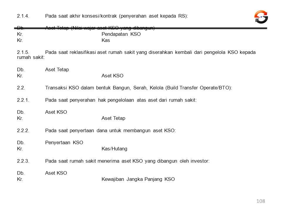 2.1.4.Pada saat akhir konsesi/kontrak (penyerahan aset kepada RS): Db. Aset Tetap (Nilai wajar aset KSO yang dibangun) Kr. Pendapatan KSO Kr. Kas 2.1.