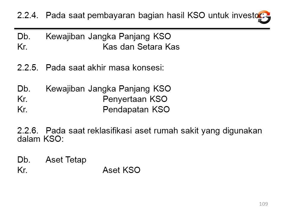 2.2.4.Pada saat pembayaran bagian hasil KSO untuk investor: Db. Kewajiban Jangka Panjang KSO Kr. Kas dan Setara Kas 2.2.5.Pada saat akhir masa konsesi