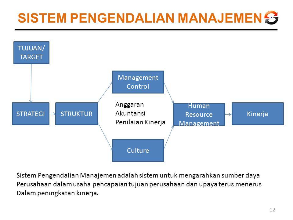 SISTEM PENGENDALIAN MANAJEMEN STRATEGISTRUKTUR Management Control Culture Human Resource Management Kinerja Anggaran Akuntansi Penilaian Kinerja TUJUA