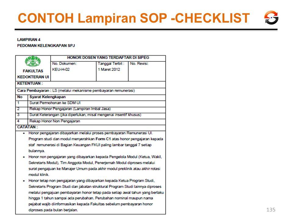 CONTOH Lampiran SOP -CHECKLIST 135