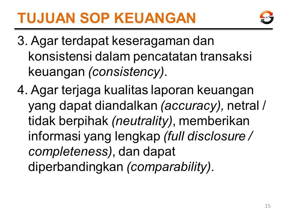TUJUAN SOP KEUANGAN 3. Agar terdapat keseragaman dan konsistensi dalam pencatatan transaksi keuangan (consistency). 4. Agar terjaga kualitas laporan k