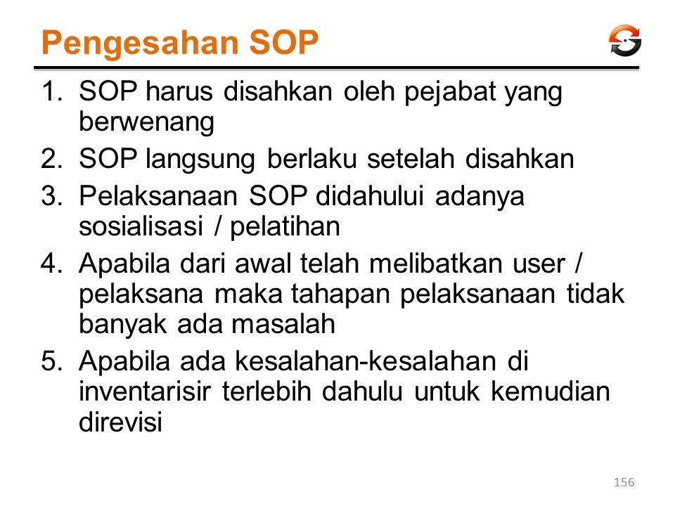 Pengesahan SOP 1.SOP harus disahkan oleh pejabat yang berwenang 2.SOP langsung berlaku setelah disahkan 3.Pelaksanaan SOP didahului adanya sosialisasi