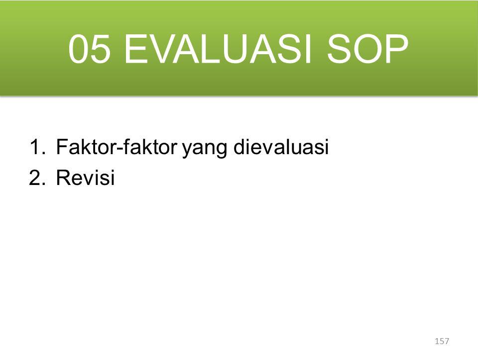 05 EVALUASI SOP 157 1.Faktor-faktor yang dievaluasi 2.Revisi