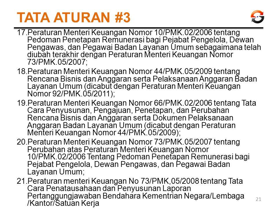 TATA ATURAN #3 17.Peraturan Menteri Keuangan Nomor 10/PMK.02/2006 tentang Pedoman Penetapan Remunerasi bagi Pejabat Pengelola, Dewan Pengawas, dan Peg