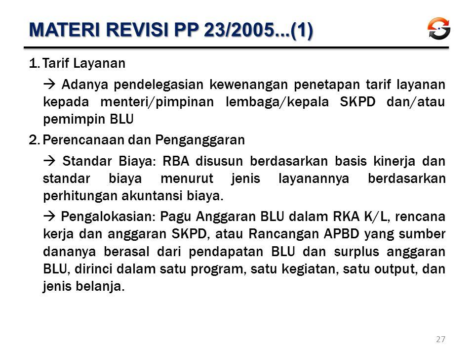 MATERI REVISI PP 23/2005...(1) 1.Tarif Layanan  Adanya pendelegasian kewenangan penetapan tarif layanan kepada menteri/pimpinan lembaga/kepala SKPD d