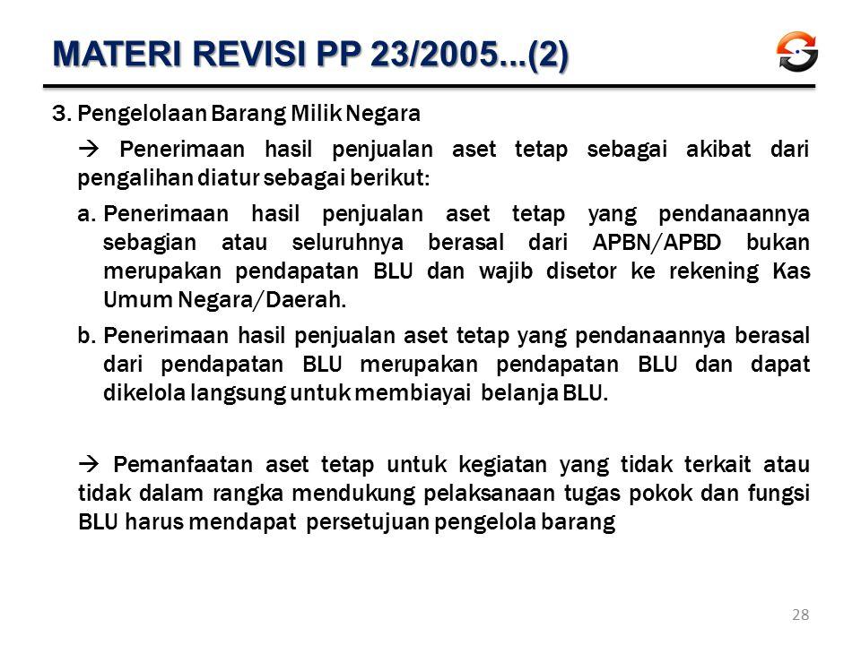 MATERI REVISI PP 23/2005...(2) 3.Pengelolaan Barang Milik Negara  Penerimaan hasil penjualan aset tetap sebagai akibat dari pengalihan diatur sebagai