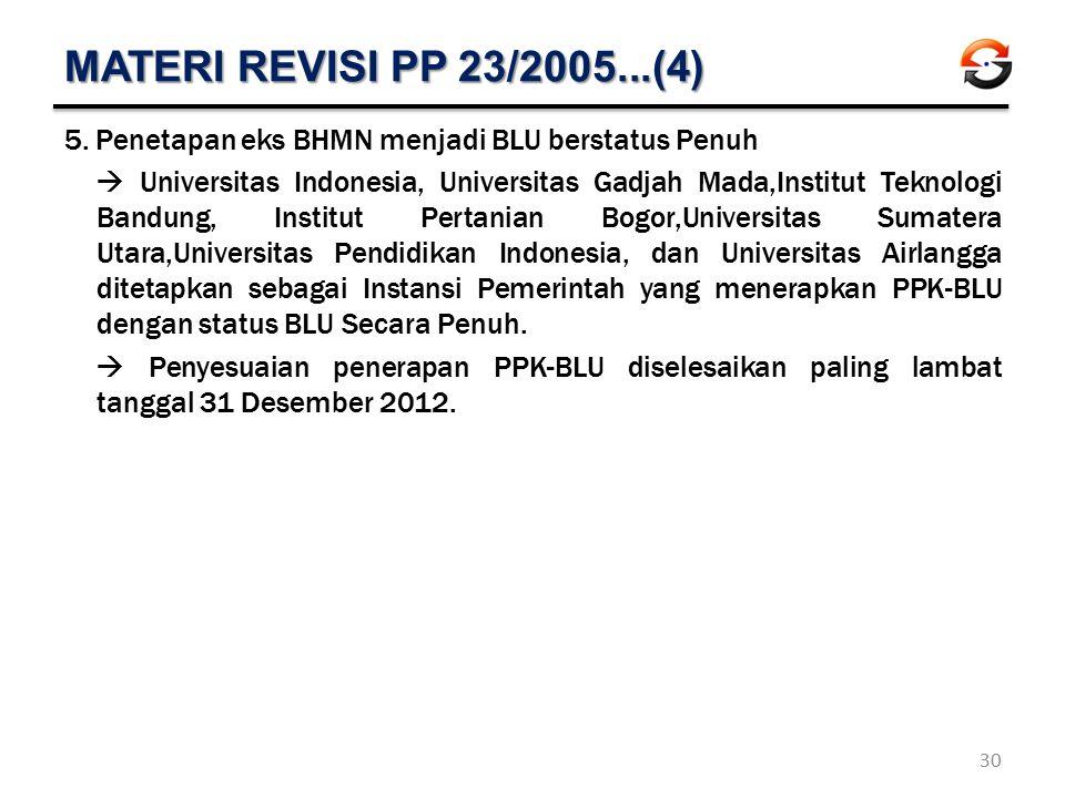 MATERI REVISI PP 23/2005...(4) 5.Penetapan eks BHMN menjadi BLU berstatus Penuh  Universitas Indonesia, Universitas Gadjah Mada,Institut Teknologi Ba