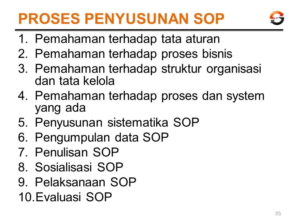 PROSES PENYUSUNAN SOP 1.Pemahaman terhadap tata aturan 2.Pemahaman terhadap proses bisnis 3.Pemahaman terhadap struktur organisasi dan tata kelola 4.P