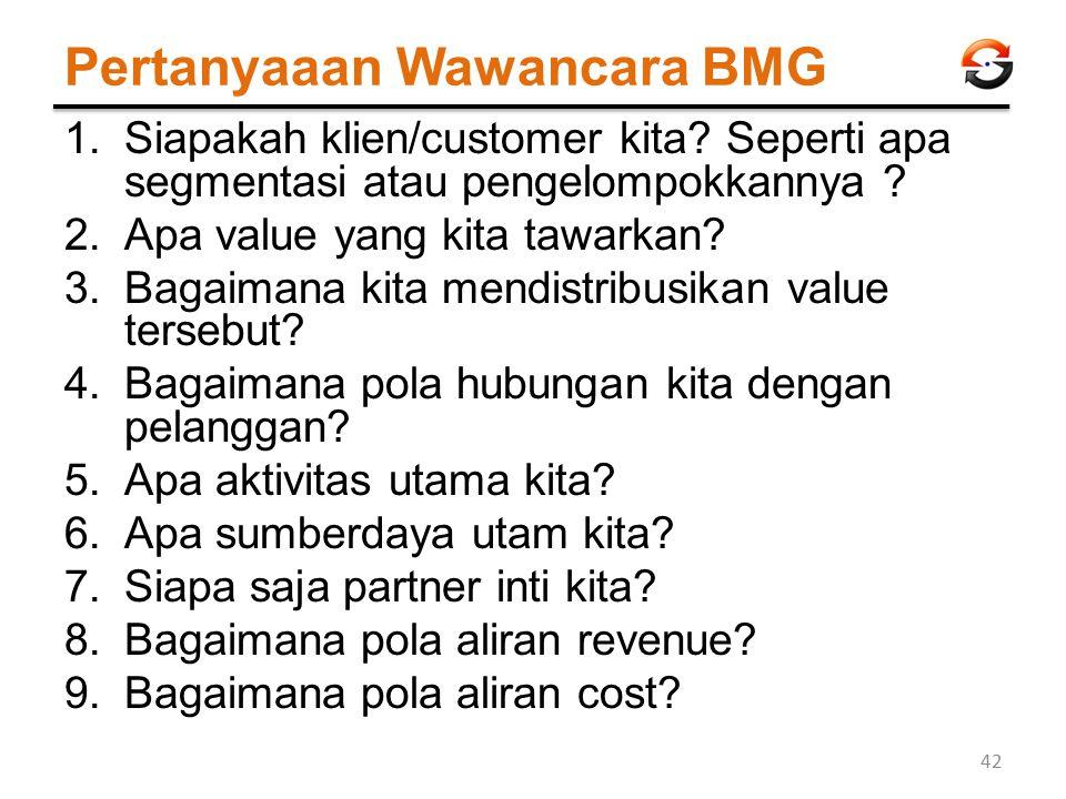 Pertanyaaan Wawancara BMG 1.Siapakah klien/customer kita? Seperti apa segmentasi atau pengelompokkannya ? 2.Apa value yang kita tawarkan? 3.Bagaimana