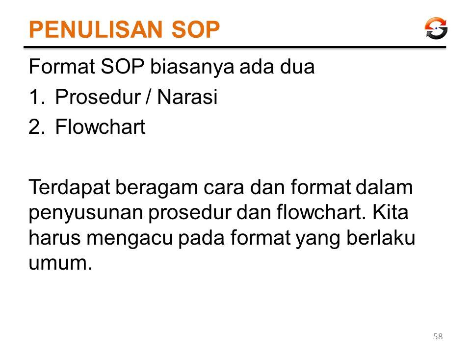 PENULISAN SOP Format SOP biasanya ada dua 1.Prosedur / Narasi 2.Flowchart Terdapat beragam cara dan format dalam penyusunan prosedur dan flowchart. Ki