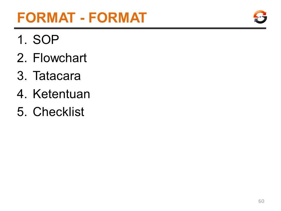 FORMAT - FORMAT 1.SOP 2.Flowchart 3.Tatacara 4.Ketentuan 5.Checklist 60