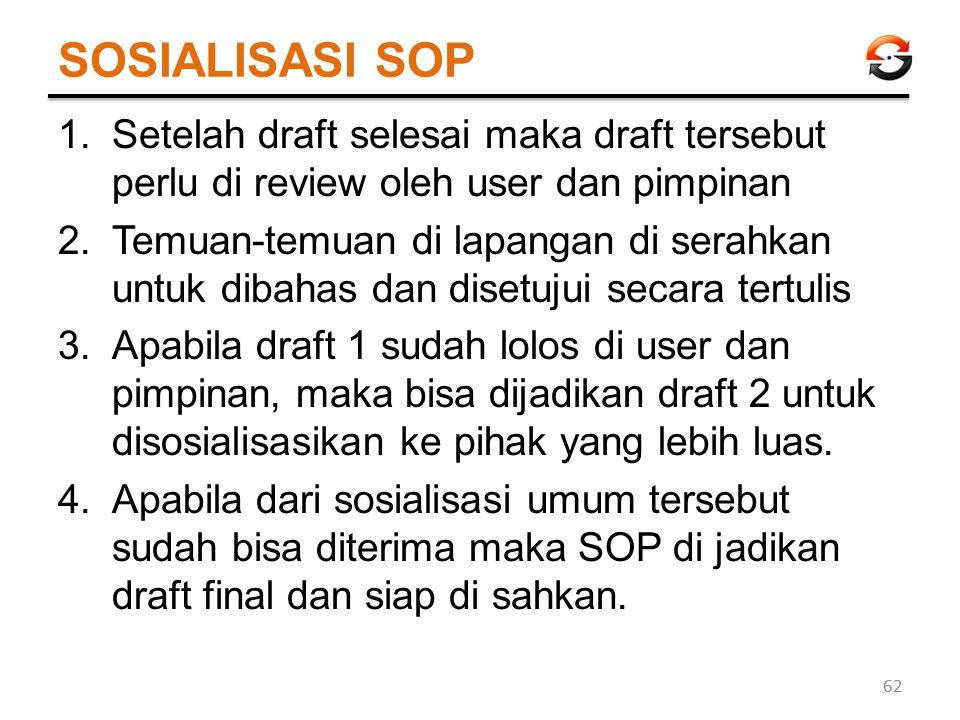 SOSIALISASI SOP 1.Setelah draft selesai maka draft tersebut perlu di review oleh user dan pimpinan 2.Temuan-temuan di lapangan di serahkan untuk dibah