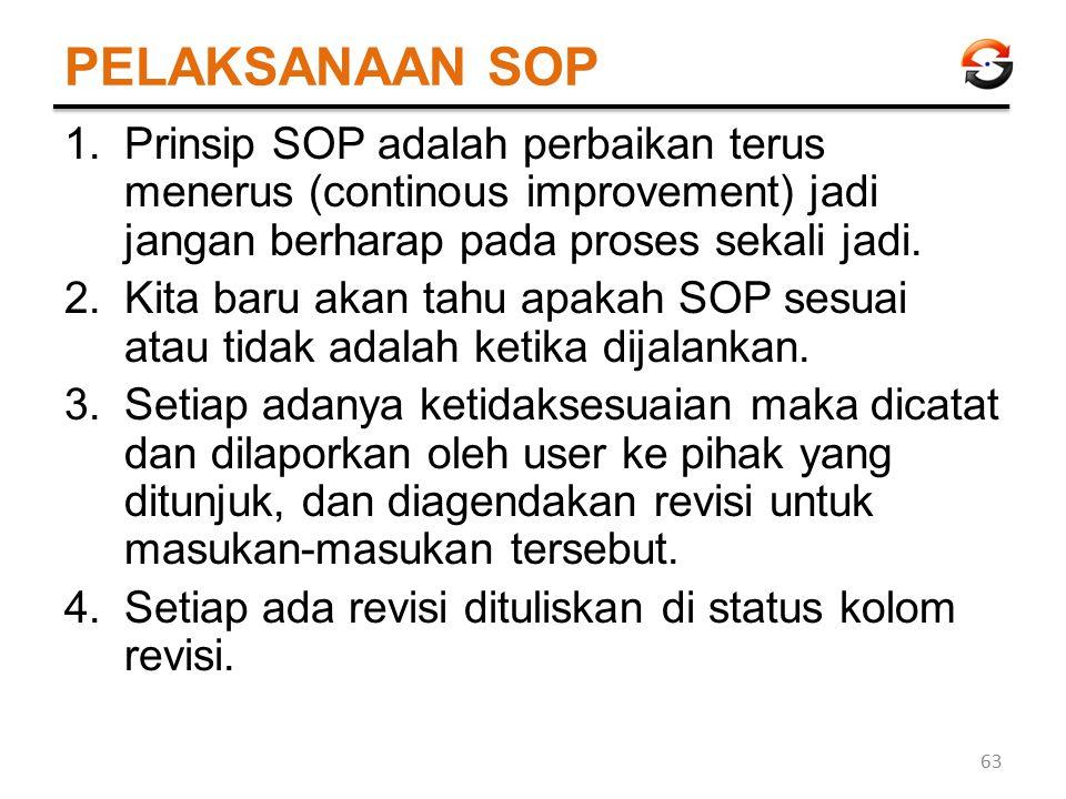 PELAKSANAAN SOP 1.Prinsip SOP adalah perbaikan terus menerus (continous improvement) jadi jangan berharap pada proses sekali jadi. 2.Kita baru akan ta