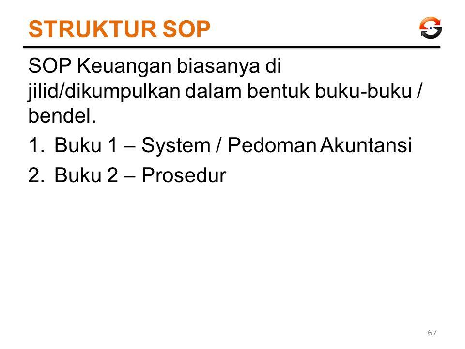 STRUKTUR SOP SOP Keuangan biasanya di jilid/dikumpulkan dalam bentuk buku-buku / bendel. 1.Buku 1 – System / Pedoman Akuntansi 2.Buku 2 – Prosedur 67