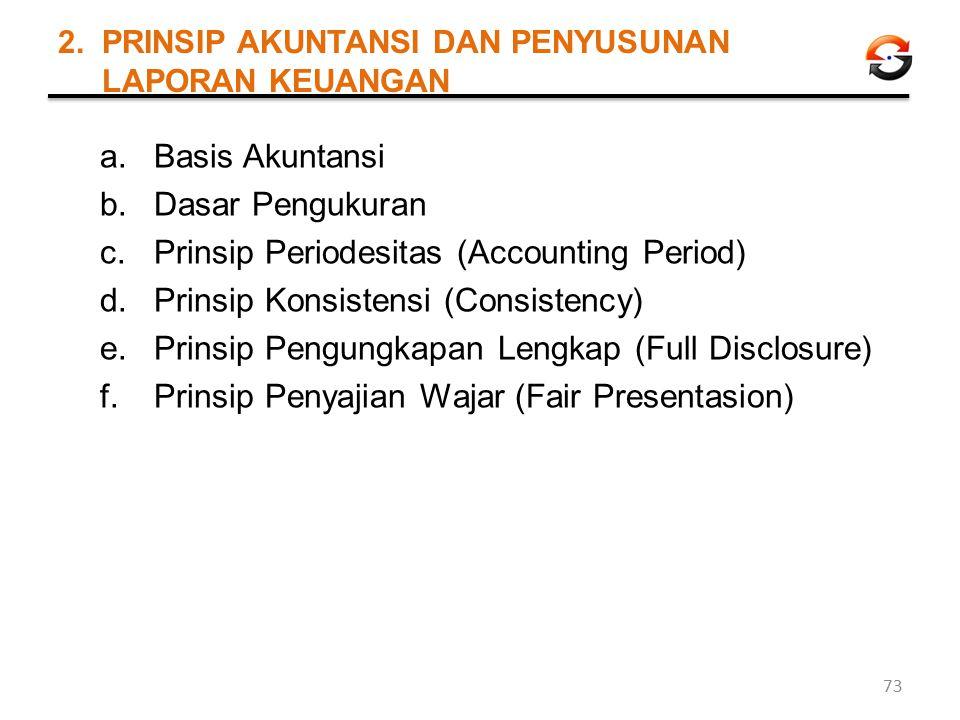 2. PRINSIP AKUNTANSI DAN PENYUSUNAN LAPORAN KEUANGAN a.Basis Akuntansi b.Dasar Pengukuran c.Prinsip Periodesitas (Accounting Period) d.Prinsip Konsist