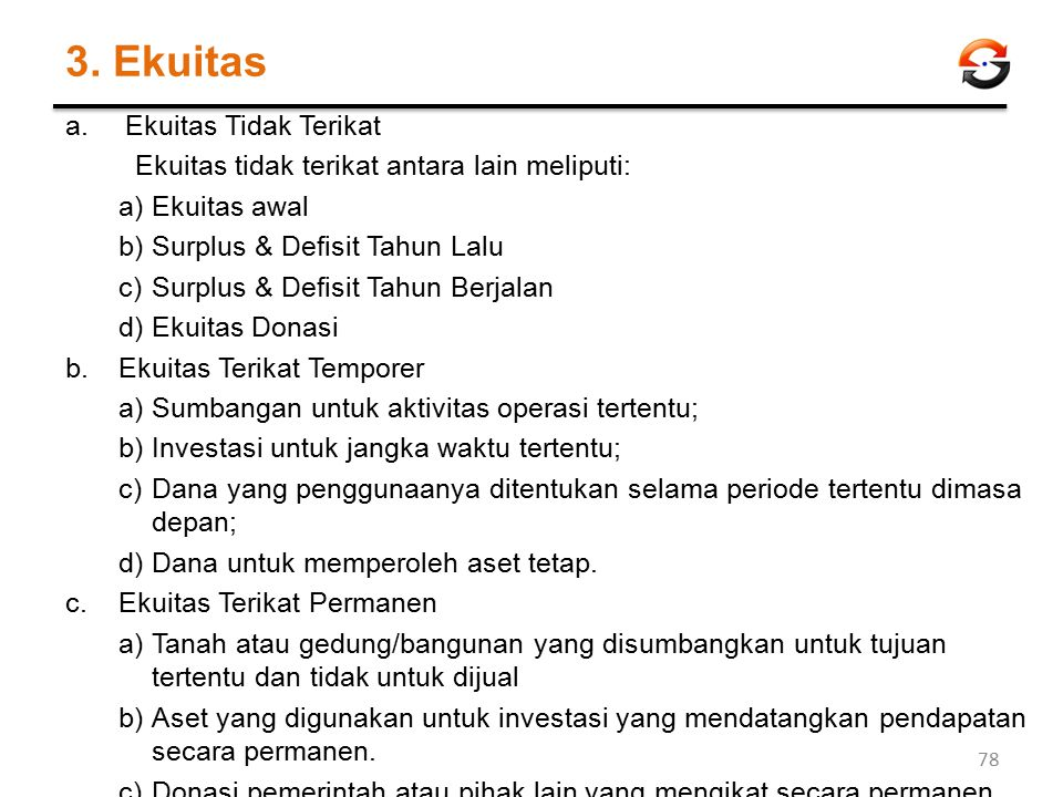 3. Ekuitas a.Ekuitas Tidak Terikat Ekuitas tidak terikat antara lain meliputi: a)Ekuitas awal b)Surplus & Defisit Tahun Lalu c)Surplus & Defisit Tahun