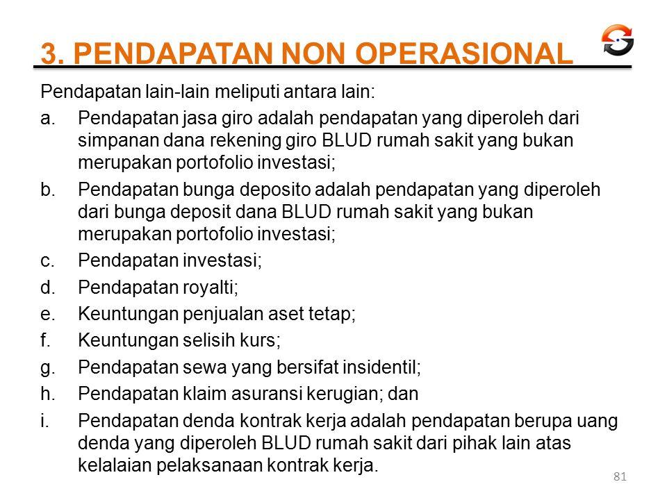 3. PENDAPATAN NON OPERASIONAL Pendapatan lain-lain meliputi antara lain: a.Pendapatan jasa giro adalah pendapatan yang diperoleh dari simpanan dana re