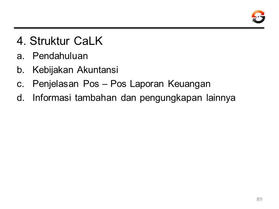 4. Struktur CaLK a.Pendahuluan b.Kebijakan Akuntansi c.Penjelasan Pos – Pos Laporan Keuangan d.Informasi tambahan dan pengungkapan lainnya 89
