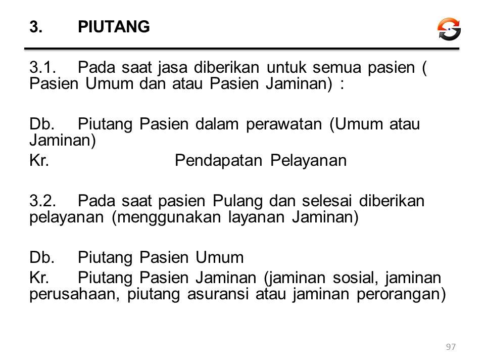 3.PIUTANG 3.1.Pada saat jasa diberikan untuk semua pasien ( Pasien Umum dan atau Pasien Jaminan) : Db. Piutang Pasien dalam perawatan (Umum atau Jamin