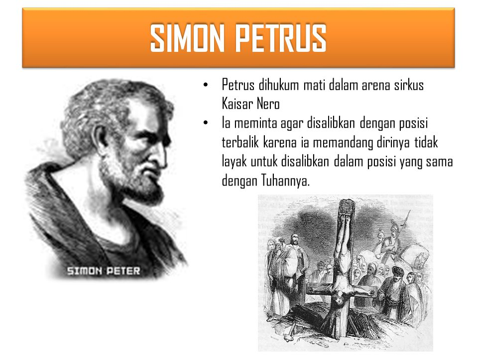 SIMON PETRUS Petrus dihukum mati dalam arena sirkus Kaisar Nero Ia meminta agar disalibkan dengan posisi terbalik karena ia memandang dirinya tidak layak untuk disalibkan dalam posisi yang sama dengan Tuhannya.