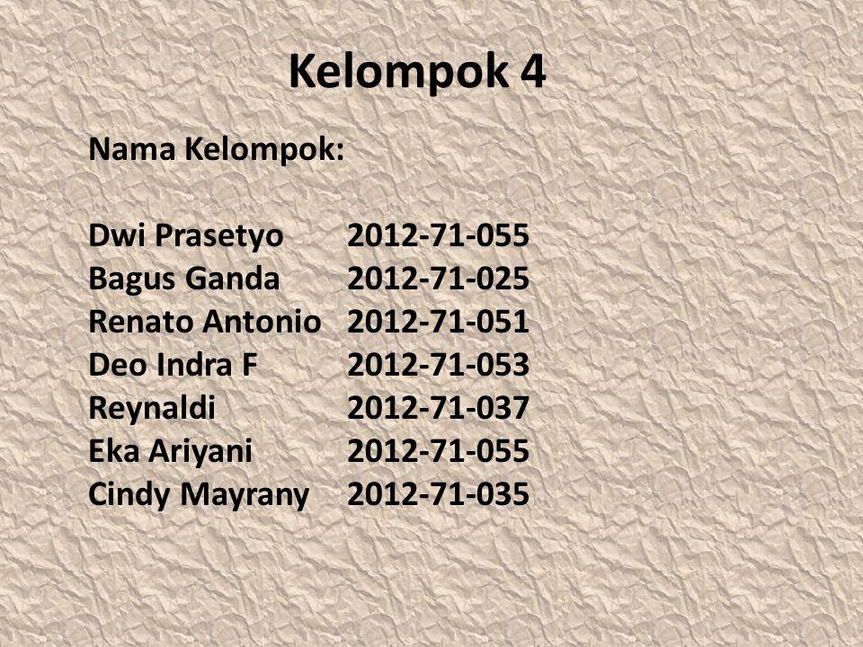 Kelompok 4 Nama Kelompok: Dwi Prasetyo2012-71-055 Bagus Ganda2012-71-025 Renato Antonio2012-71-051 Deo Indra F 2012-71-053 Reynaldi2012-71-037 Eka Ariyani2012-71-055 Cindy Mayrany2012-71-035