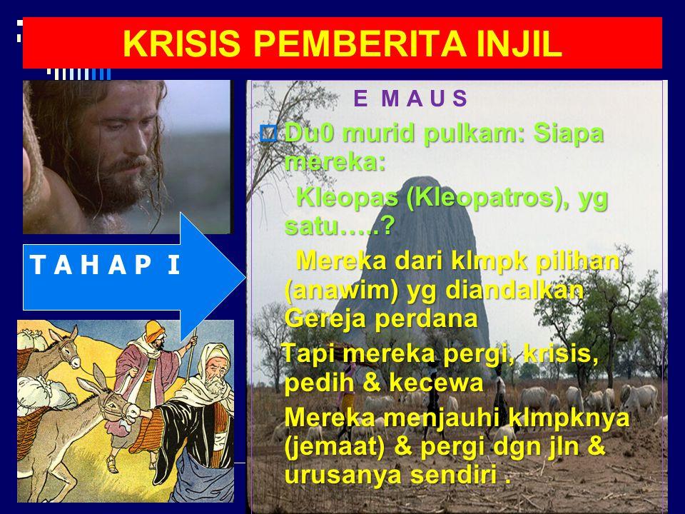 KISAH EMAUS HARUS DI BACA DLM TERANG KONTEKS JAUH TERUTAMA PERISTIWA KEBANGKITAN Injil Lukas Mempresentasikan Yesus sebagai Anak Manusia yang datang untuk mencari dan menyelamatkan mereka yang hilang.