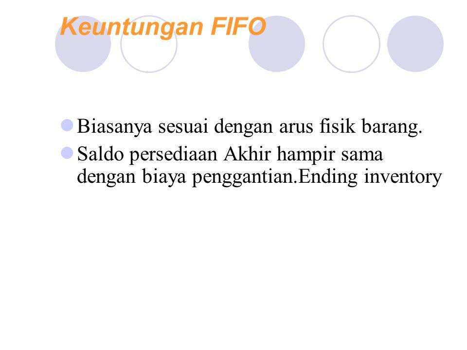 Keuntungan FIFO Advantages: Biasanya sesuai dengan arus fisik barang. Saldo persediaan Akhir hampir sama dengan biaya penggantian.Ending inventory