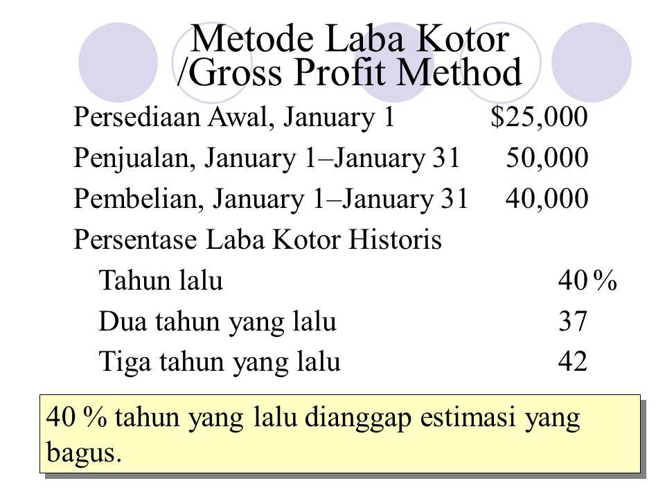 Metode Laba Kotor /Gross Profit Method Persediaan Awal, January 1$25,000 Penjualan, January 1–January 3150,000 Pembelian, January 1–January 3140,000 P
