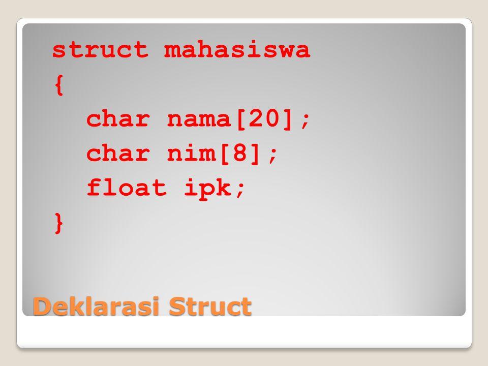 Deklarasi Struct struct mahasiswa { char nama[20]; char nim[8]; float ipk; }
