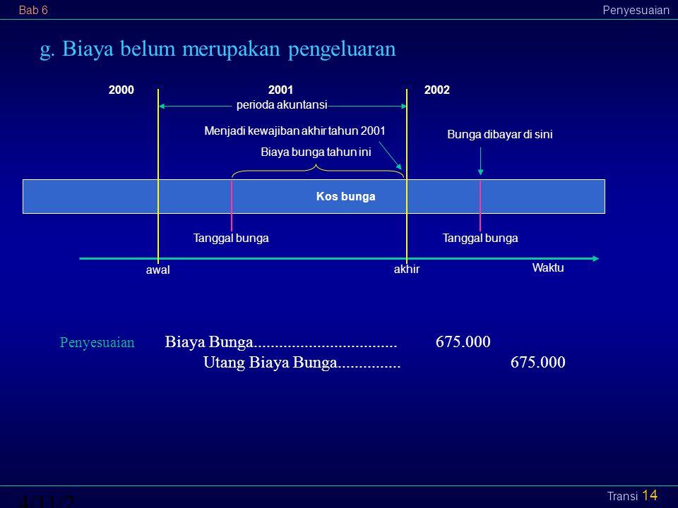 Bab 6Penyesuaian4/11/2015 Transi 14 g. Biaya belum merupakan pengeluaran perioda akuntansi 2002 awal akhir 20002001 Menjadi kewajiban akhir tahun 2001