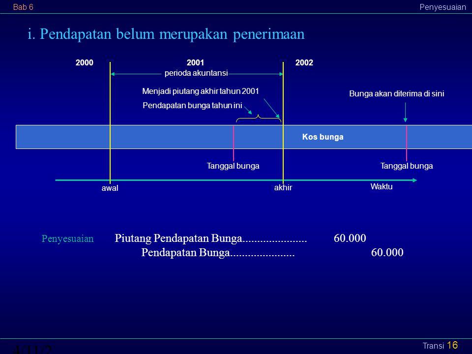 Bab 6Penyesuaian4/11/2015 Transi 16 i. Pendapatan belum merupakan penerimaan perioda akuntansi 2002 awal akhir 20002001 Menjadi piutang akhir tahun 20