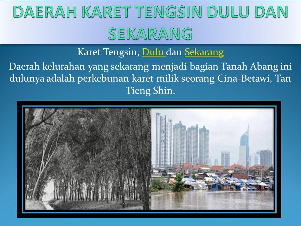 Karet Tengsin, Dulu dan SekarangDulu Sekarang Daerah kelurahan yang sekarang menjadi bagian Tanah Abang ini dulunya adalah perkebunan karet milik seor