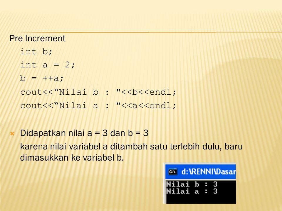 "Pre Increment int b; int a = 2; b = ++a; cout<<""Nilai b :"