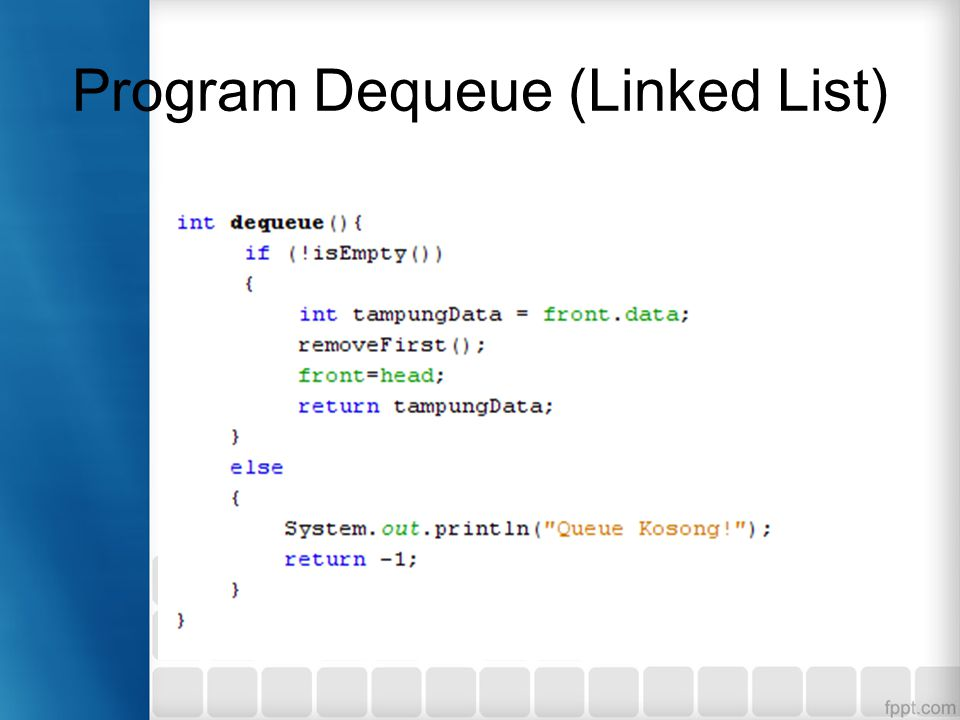 Program Dequeue (Linked List)
