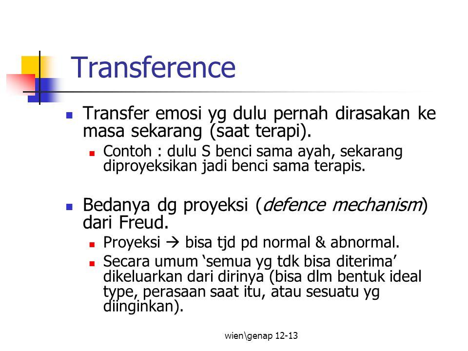 wien\genap 12-13 Transference Transfer emosi yg dulu pernah dirasakan ke masa sekarang (saat terapi). Contoh : dulu S benci sama ayah, sekarang diproy