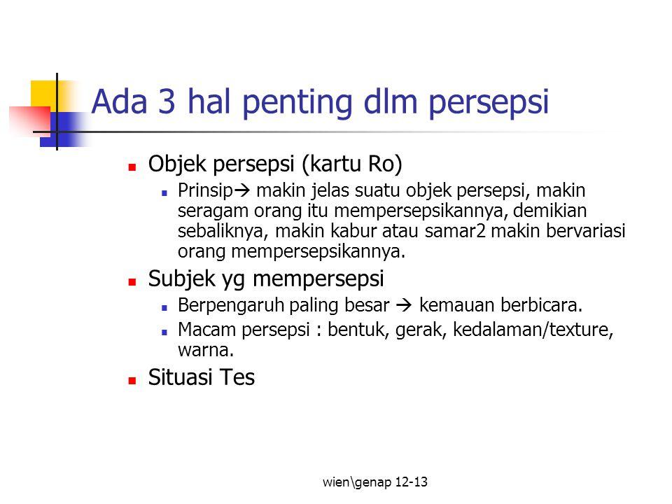 wien\genap 12-13 Ada 3 hal penting dlm persepsi Objek persepsi (kartu Ro) Prinsip  makin jelas suatu objek persepsi, makin seragam orang itu memperse